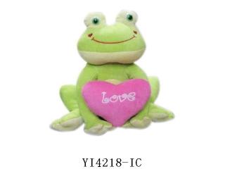 Лягушка плюшевая с сердцем с русской озвучкой 27 см